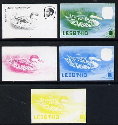 Lesotho 1982 Red Billed Teal 10s the set of 5 imperf progressive proofs comprising the 4 individual colours, plus blue & yellow, scarce (as SG 506)