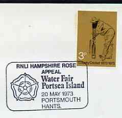 Postmark - Great Britain 1973 cover bearing illustrated cancellation for RNLI Hampshire Rose Appeal, Water Fair Portsea