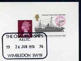Postmark - Great Britain 1974 card bearing special cancellation for All England Lawn Tennis Championship, Wimbledon