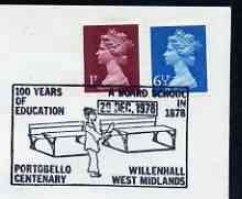 Postmark - Great Britain 1978 cover bearing illustrated cancellation for 100 Years of Education, Willenhall