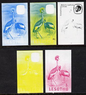 Lesotho 1982 Crowned Crane 3s the set of 5 imperf progressive proofs comprising the 4 individual colours, plus blue & yellow, scarce (as SG 502)