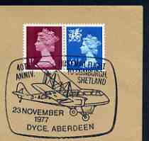 Postmark - Great Britain 1977 cover bearing illustrated cancellation for 40th Anniversary of First Mail Flight to Sumburgh, Shetland