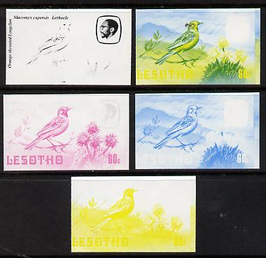 Lesotho 1982 Cape Longclaw 60s the set of 5 imperf progressive proofs comprising the 4 individual colours, plus blue & yellow, scarce (as SG 509)