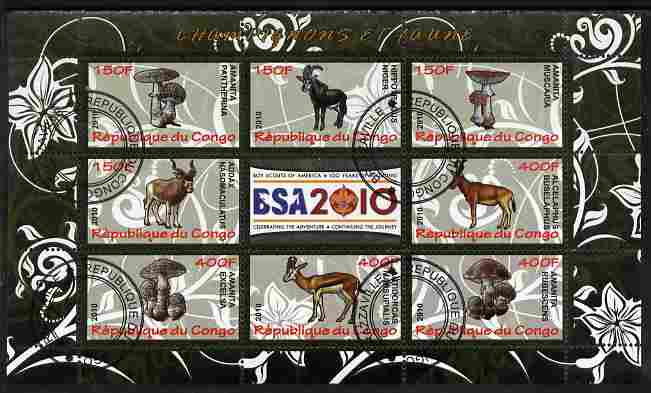 Congo 2010 Mushrooms & Fauna #04 perf sheetlet containing 8 values plus Scouts label fine cto used