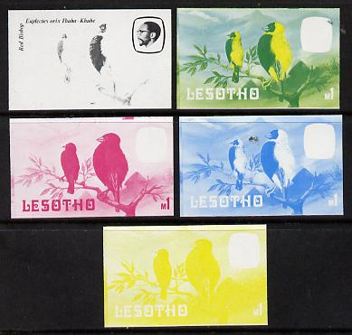 Lesotho 1982 Red Bishop def M1 the set of 5 imperf progressive proofs comprising the 4 individual colours, plus blue & yellow, scarce (as SG 511)