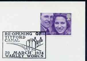 Postmark - Great Britain 1974 card bearing illustrated cancellation for Re-opening of Titford Canal