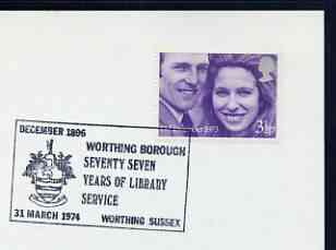 Postmark - Great Britain 1974 card bearing illustrated cancellation for 77 Years of Library service, Worthing