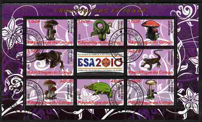 Congo 2010 Mushrooms & Fauna #05 perf sheetlet containing 8 values plus Scouts label fine cto used