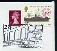 Postmark - Great Britain 1974 cover bearing illustrated cancellation for Llangollen International Musical Eisteddfod, showing a Bridge