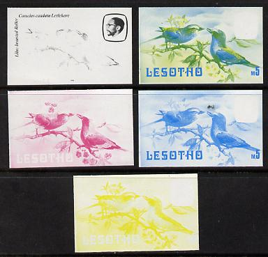 Lesotho 1982 Lilac Breasted Roller def M5 the set of 5 imperf progressive proofs comprising the 4 individual colours, plus blue & yellow, scarce (as SG 513)