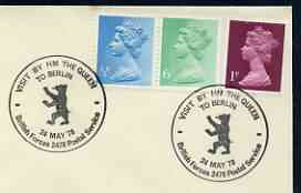 Postmark - Great Britain 1978 cover bearing illustrated cancellation for Royal Visit to Berlin (BFPS)