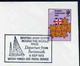 Postmark - Great Britain 1973 cover bearing illustrated cancellation for British Army Entry in Round the World Race (BFPS)
