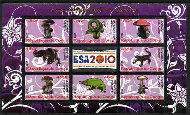 Congo 2010 Mushrooms & Fauna #05 perf sheetlet containing 8 values plus Scouts label unmounted mint