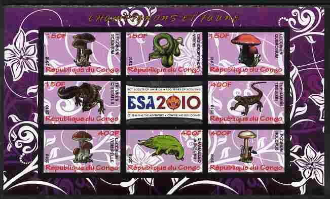 Congo 2010 Mushrooms & Fauna #05 imperf sheetlet containing 8 values plus Scouts label unmounted mint