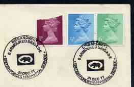 Postmark - Great Britain 1977 cover bearing illustrated cancellation for Disbandment of 6 Armoured Brigade (BFPS)