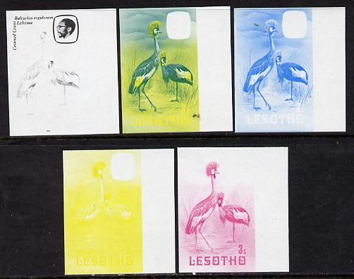 Lesotho 1981 Crowned Crane 3s the set of 5 imperf progressive proofs comprising the 4 individual colours, plus blue & yellow, scarce (as SG 439