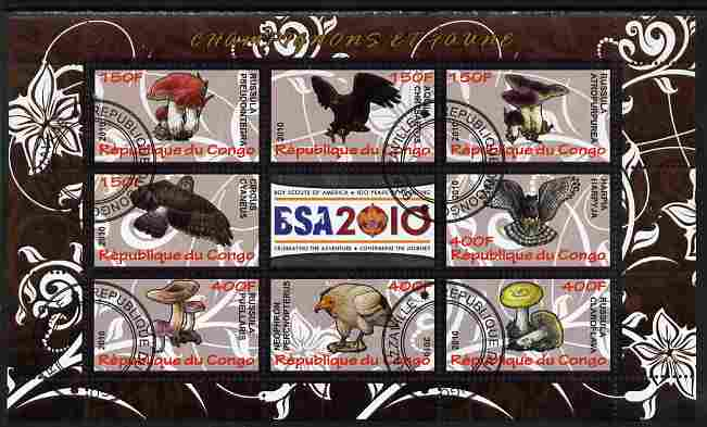 Congo 2010 Mushrooms & Fauna #06 perf sheetlet containing 8 values plus Scouts label fine cto used