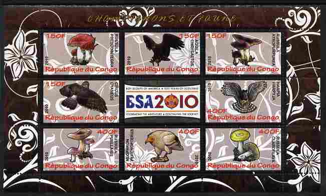 Congo 2010 Mushrooms & Fauna #06 perf sheetlet containing 8 values plus Scouts label unmounted mint