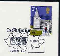 Postmark - Great Britain 1973 cover bearing illustrated cancellation for Tree Planting Year, Westonbirt Arboretum