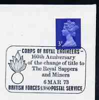 Postmark - Great Britain 1973 cover bearing special cancellation for Corps of Royal Engineers, change of title to Royal Sappers and Miners (BFPS)