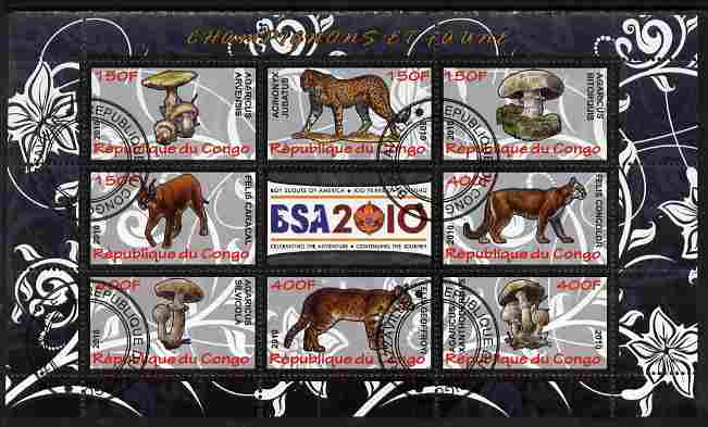 Congo 2010 Mushrooms & Fauna #07 perf sheetlet containing 8 values plus Scouts label fine cto used