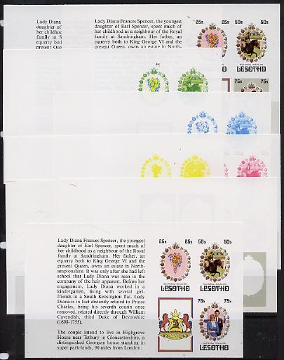 Booklet - Lesotho 1981 Royal Wedding set of 3 in booklet panes as SG 451b x 9 imperf progressive proofs comprising various single colour or composite combinations, extrem...