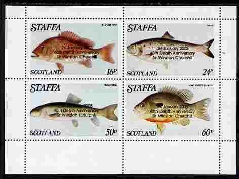 Staffa 2005 40th Death Anniversary of Winston Churchill overprinted on 1979 Fish #04 (Snapper, Shad, etc) perf set of 4 values, unmounted mint