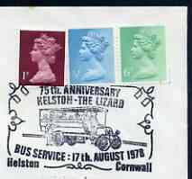 Postmark - Great Britain 1978 cover bearing illustrated cancellation for 75th Anniversary Kelston to Lizard Bus Service
