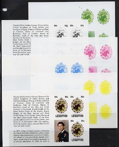 Booklet - Lesotho 1981 Royal Wedding 50s value (x 3) in booklet panes as SG 452a x 6 imperf progressive proofs comprising various single colour or composite combinations,...