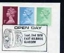 Postmark - Great Britain 1978 cover bearing illustrated cancellation for Rolls Royce Open Day, Glasgow (engine shown complete)