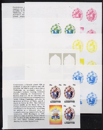 Booklet - Lesotho 1981 Royal Wedding 75s value (x 3) in booklet panes as SG 453a x 7 imperf progressive proofs comprising various single colour or composite combinations,...