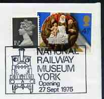 Postmark - Great Britain 1975 cover bearing special cancellation for Opening of National Tailway Museum