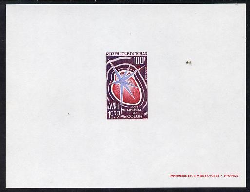 Chad 1972 Heart Month 100f deluxe proof card in full issued colours