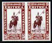 Eritrea 1930 Lancer 35c imperf pair being a 'Hialeah' forgery on gummed paper (as SG 156)