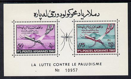 Afghanistan 1961 Mosquito Anti Malaria (50p & 175p) perf m/sheet unmounted mint Mi BL 15A