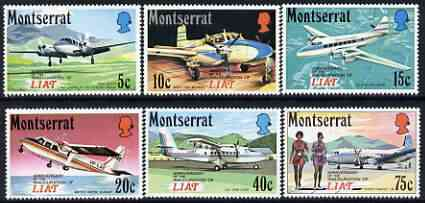 Montserrat 1971 Anniversary of LIAT (Leeward Is Air Transport) perf set of 6 unmounted mint, SG 280-85