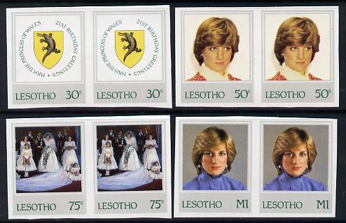Lesotho 1982 Princess Di's 21st Birthday set of 4 imperf pairs unmounted mint, as SG 514-7