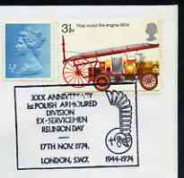 Postmark - Great Britain 1974 cover bearing special cancellation for 30th Anniversary of Polish Armoured Division