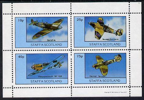 Staffa 1981 WW2 Aircraft #2 (Spitfire, Hurricane, Messerschmitt & Tempest) perf set of 4 values unmounted mint