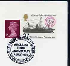 Postmark - Great Britain 1974 card bearing special cancellation for Heathrow Airport, Airclaims 10th Anniversary