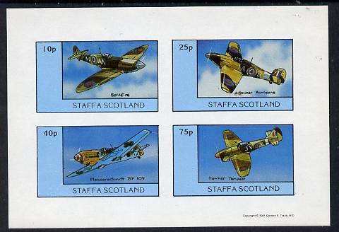 Staffa 1981 WW2 Aircraft #2 (Spitfire, Hurricane, Messerschmitt & Tempest) imperf set of 4 values unmounted mint