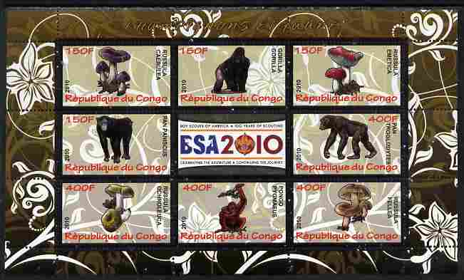 Congo 2010 Mushrooms & Fauna #09 perf sheetlet containing 8 values plus Scouts label unmounted mint
