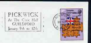 Postmark - Great Britain 1973 cover bearing illustrated slogan cancellation for Pickwick at the Civic Hall, guildford