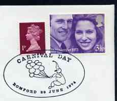 Postmark - Great Britain 1974 card bearing illustrated cancellation for Carnival Day, Romford, showing balloons