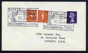 Postmark - Great Britain 1969 cover bearing illustrated cancellation for RAFA Rocket Display, Wolverhampton