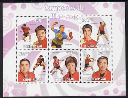 Guinea - Bissau 2009 Table Tennis Champions perf sheetlet containing 5 values unmounted mint