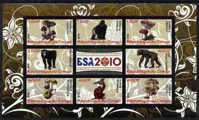 Congo 2010 Mushrooms & Fauna #09 imperf sheetlet containing 8 values plus Scouts label unmounted mint