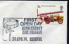 Postmark - Great Britain 1974 cover bearing illustrated cancellation for First Open Day, Avon County Fire Brigade