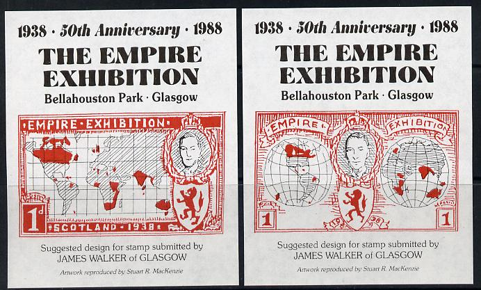 Exhibition souvenir sheets for 1988 50th Anniversary Empire Exhibition, set of 2 sheets each showing KG6 stamp essay by James Walker (Map) unmounted mint