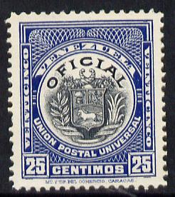 Venezuela 1912 Official 25c (without Stars) virtually unmounted mint SG O356